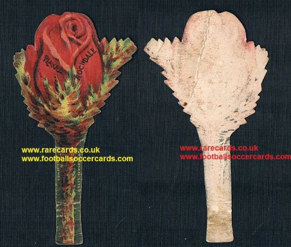 1890 early football badge! Sharpe buttonhole badge card flower Rochdale FC